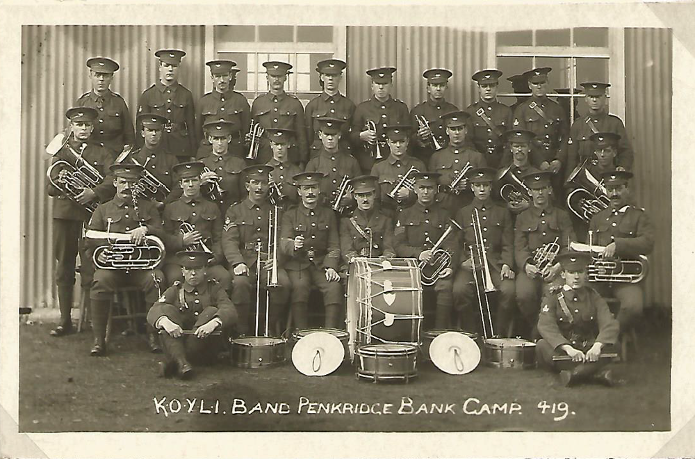 Kings Own Yorkshire Light Infantry  KOYLI stayed at Rugeley Camp. Each Battalion seemed to have their own band for Sunday services and parades