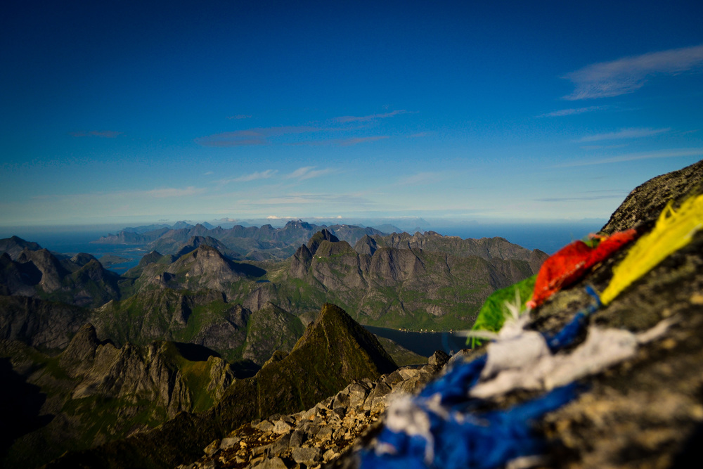 Prayer flags atop the Lofotens, Norway
