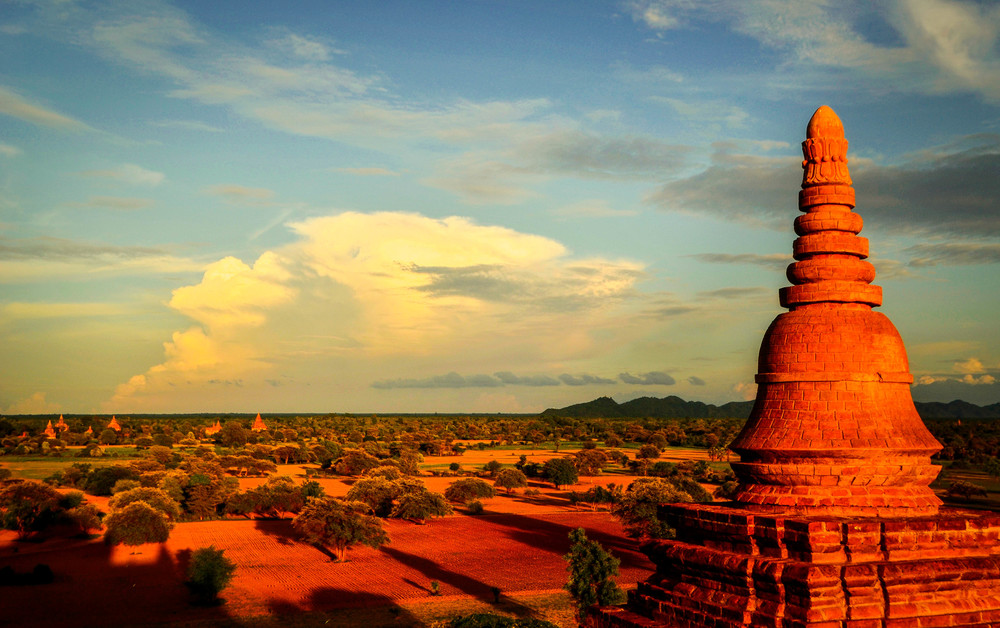 The Bagan plateau at sunset, Myanmar