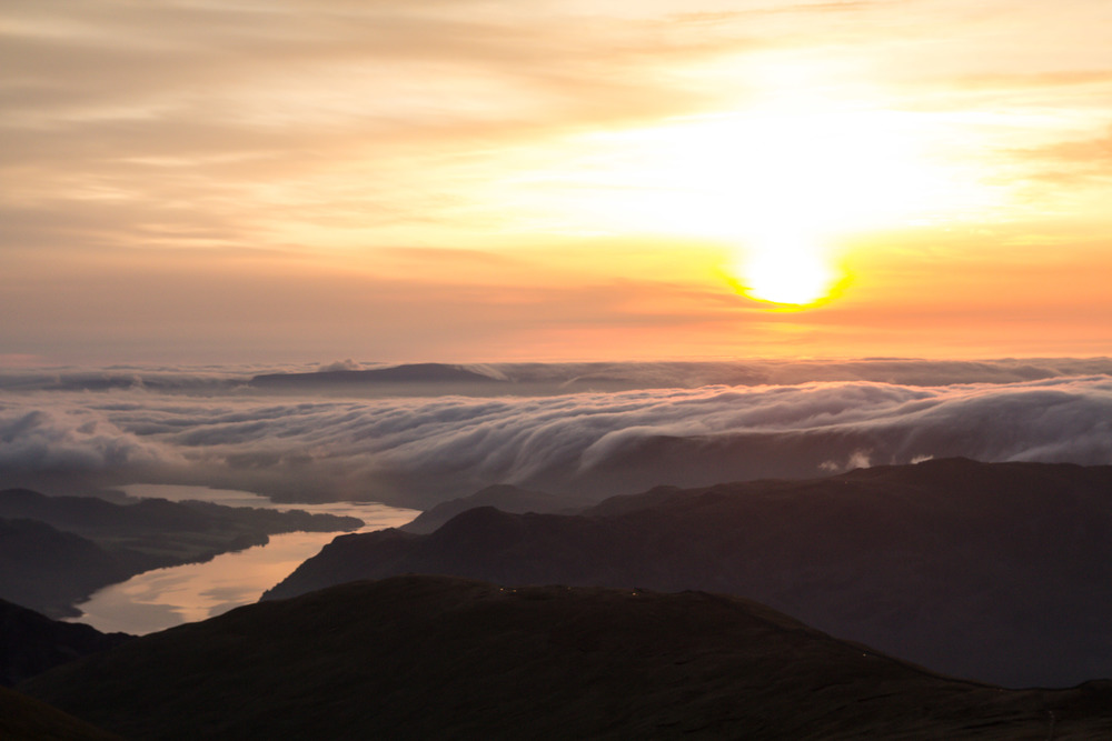 Sunrise from the summit of Helvellyn, Lake District