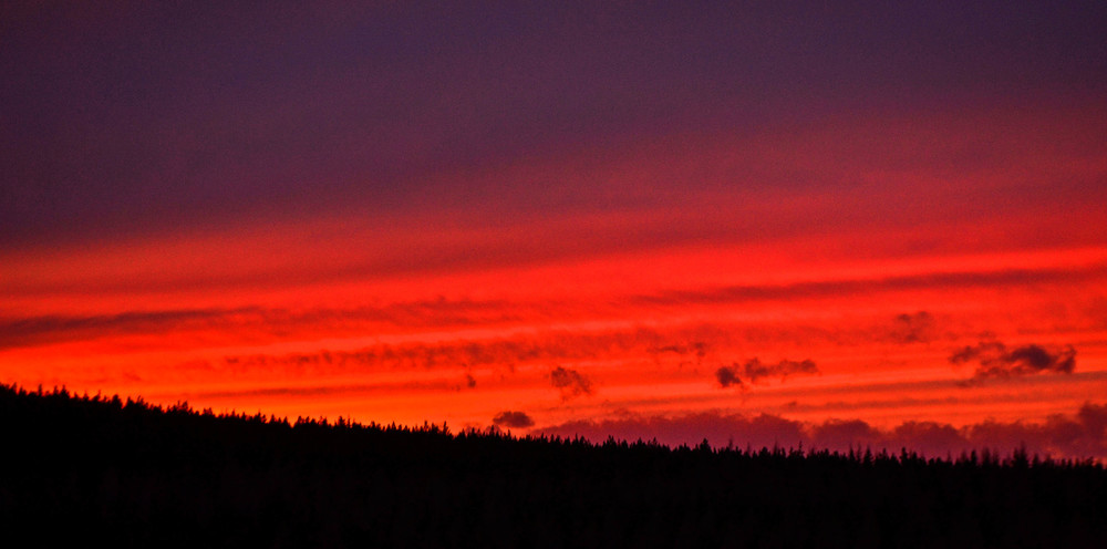 Deep red sunset in the Cairngorms