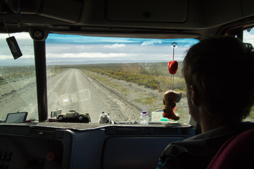 Seeing the expansive northern plains of tierra del fuego from the back seat of a lorry (photo: Sam Oakes)