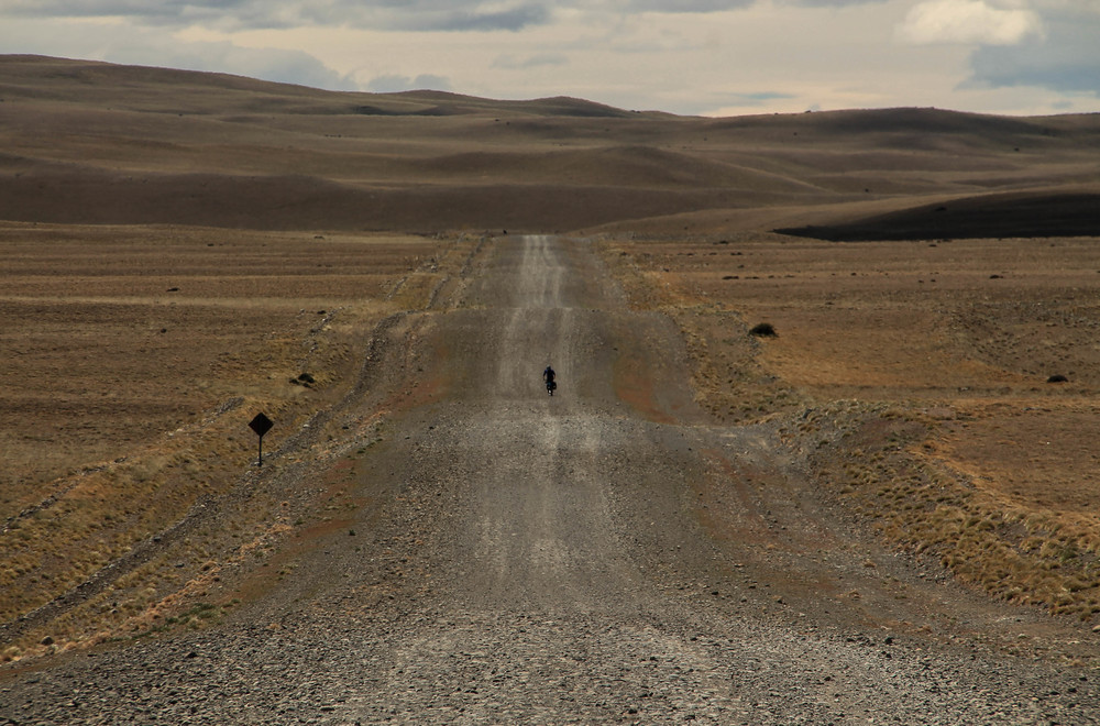 Riding down the gravel roads through southern mainland Chile