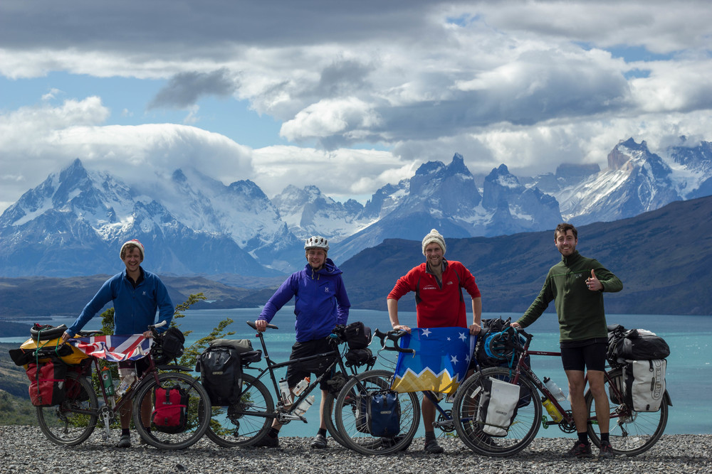 The team in front of the Torres del Paine mountain range