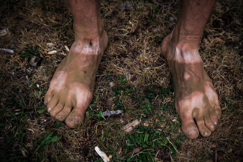Warrick's feet after a pretty dusty day