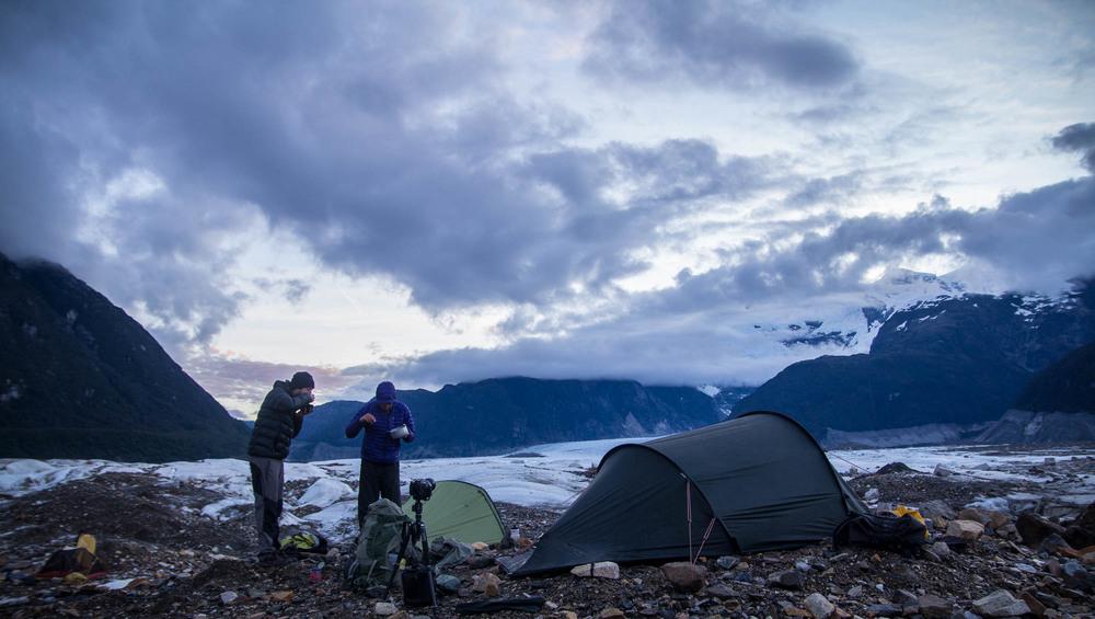 Camping on glacier Exploradores