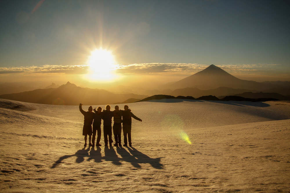 The team with Volcan Lanin in the background