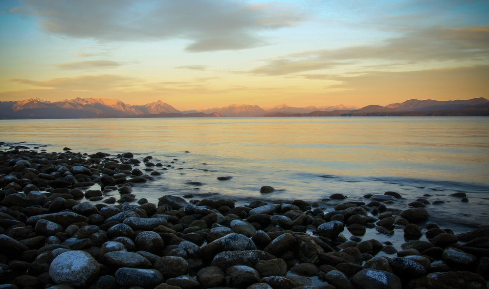 Sunrise after a lakeside bivvy in San Carlos de Bariloche