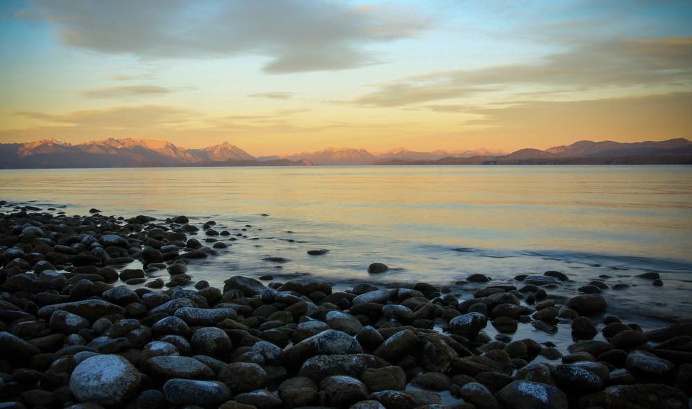 Sunrise after a lakeside bivvy in San Carlos de Bariloche