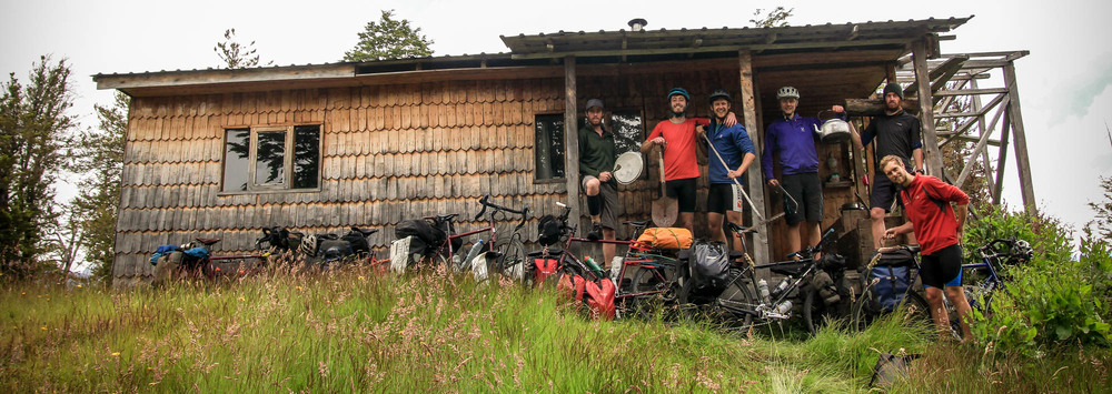 The six-man team outside our not so 'abandoned' hut