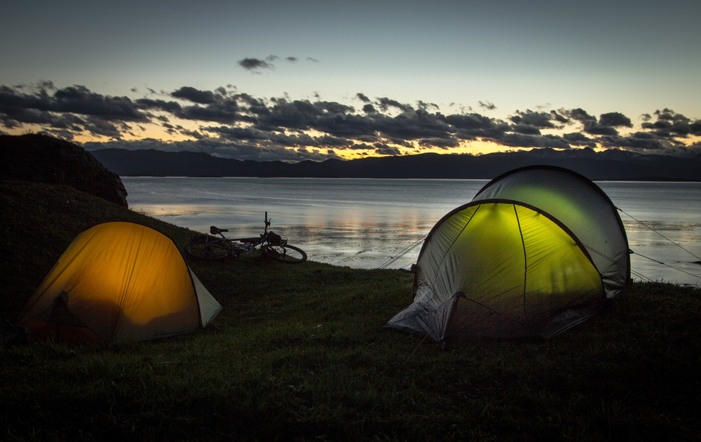 First night camping by the Beagle channel, Tierra del Fuego