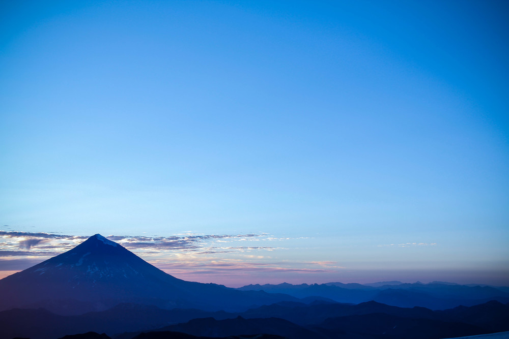 Morning blues over volcan Lanin