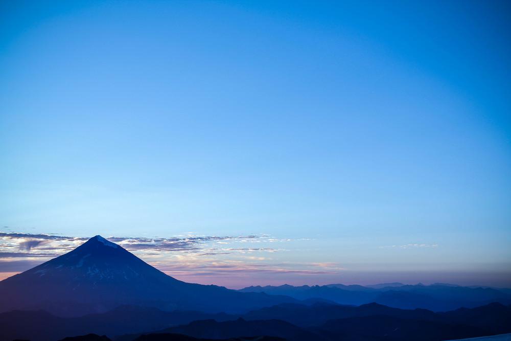 Morning blues over volcan Lanin