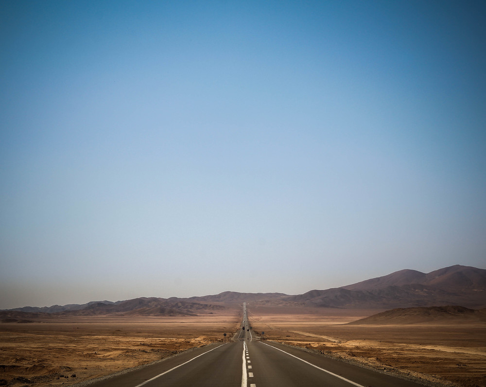 The roads were long and straight in the Atacama desert