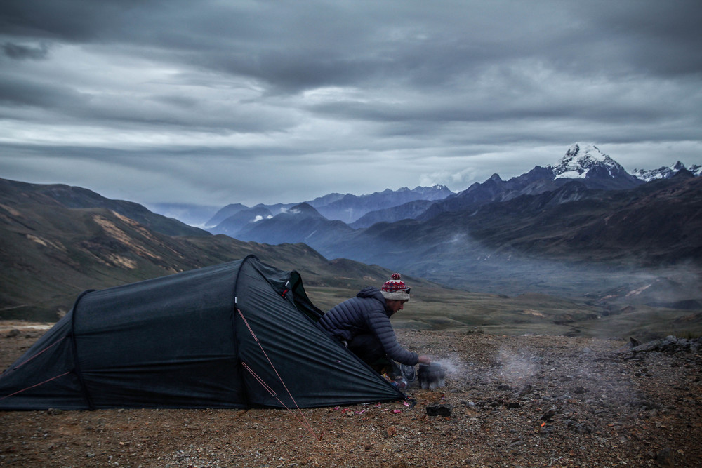 Camping at 4,700m and enjoying my first views of the Cordillera Huayhuash