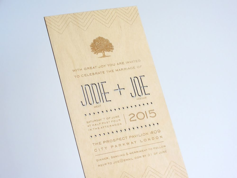 'Into the Woods' plywood invitation
