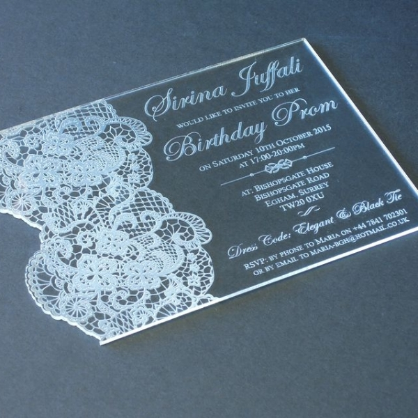 Perspex birthday invitation