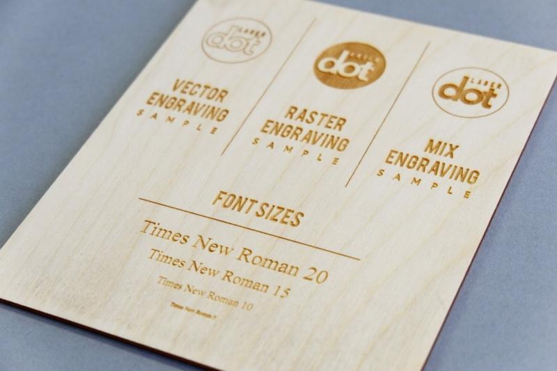 Laser engraved sample on birch plywood.