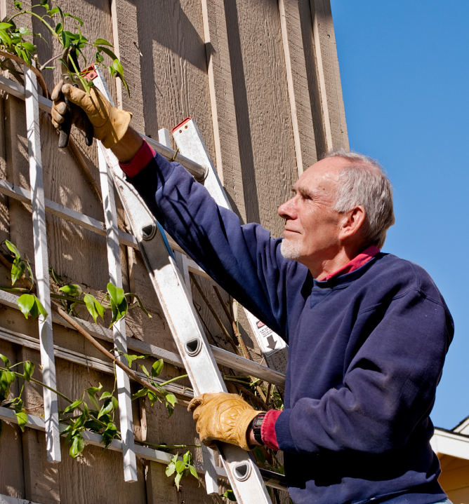 Safe work with gloves but should he be reaching across the ladder?