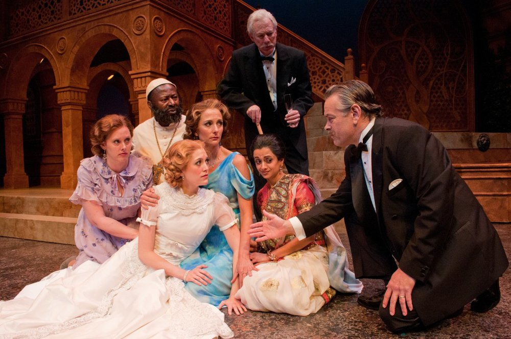 Nandita (kneeling, second from right) in a scene from MUCH ADO ABOUT NOTHING, Alabama Shakespeare Festival.