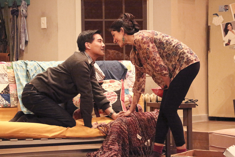(L to R)   Ewan Chung   as Michael and   Rachna Khatau   as Sonya in   East West Players   February/March 2015 production of WASHER/DRYER in Los Angeles, CA.