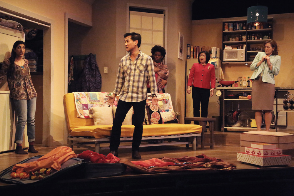 (L to R)   Rachna Khatau   as Sonya,   Ewan Chung   as Michael,   Corey Wright   as Sam,   Karen Huie   as Dr. Lee, and   Nancy Stone   as Wendee in   East West Players   February/March 2015 production of WASHER/DRYER in Los Angeles, CA.