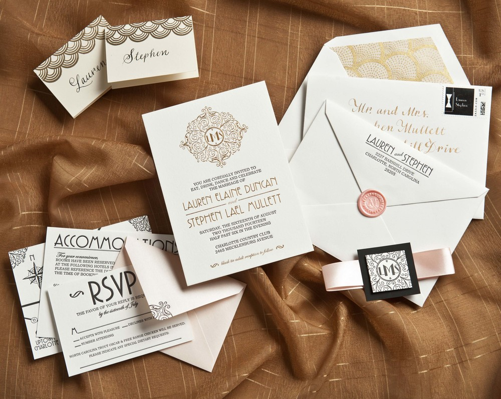 Art Deco Letterpress and Gold Foil Invitation Suite
