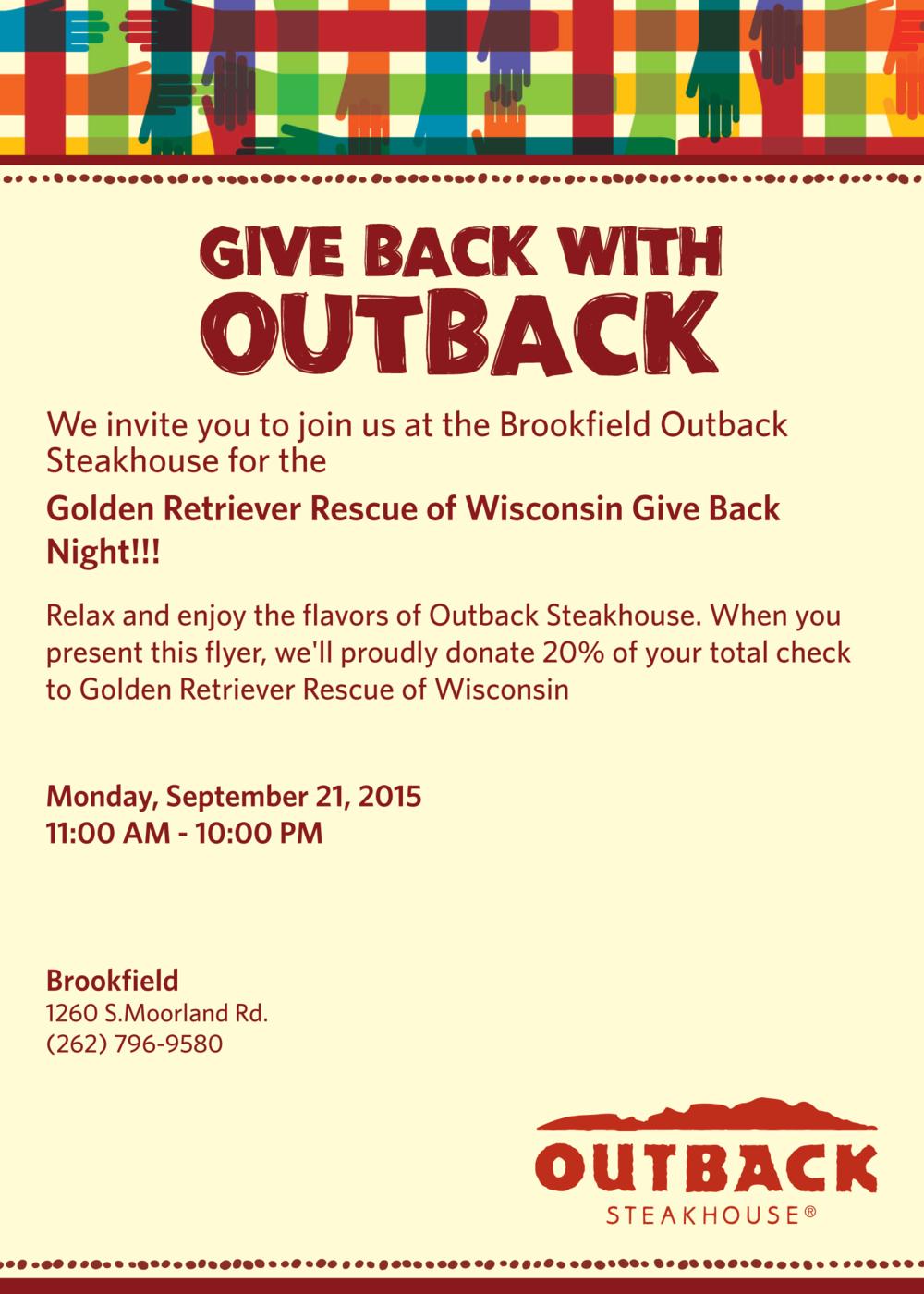 Outback Steakhouse Fundraiser — GRRoW
