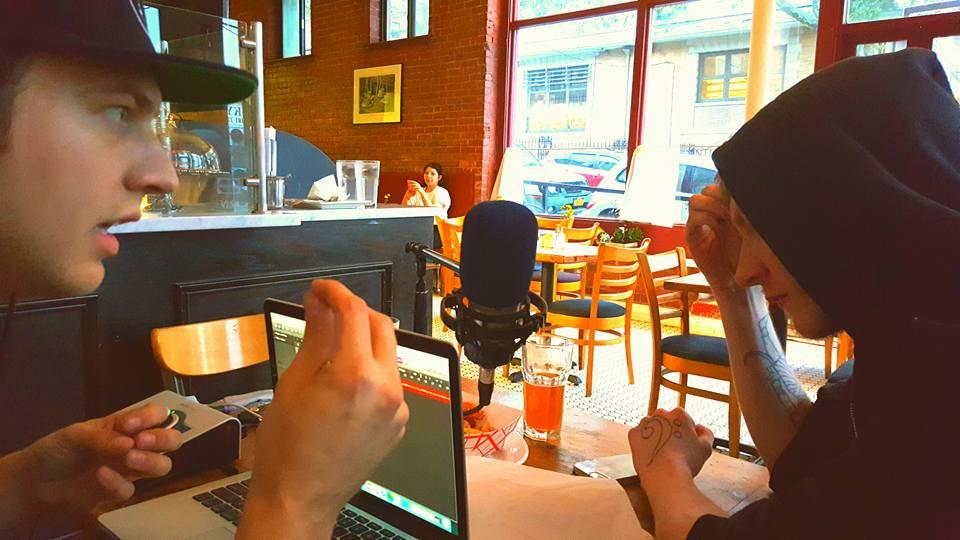 Setting up impromptu studio at Astor Bake Shop.