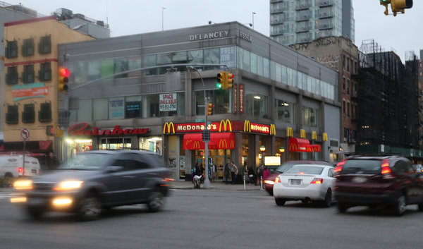 The McDonald's on the Lower East Side of Manhattan where Bryan L. said an unkempt-looking woman, who was an undercover officer, asked him to buy drugs for her. Credit: Michelle V. Agios/The New York Times.