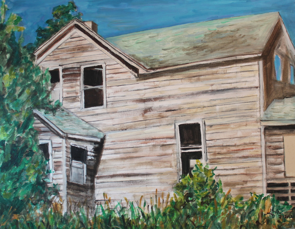 "Farmhouse,  Angela Matsuoka    Oil and Acrylic on Canvas, 22""x28"""