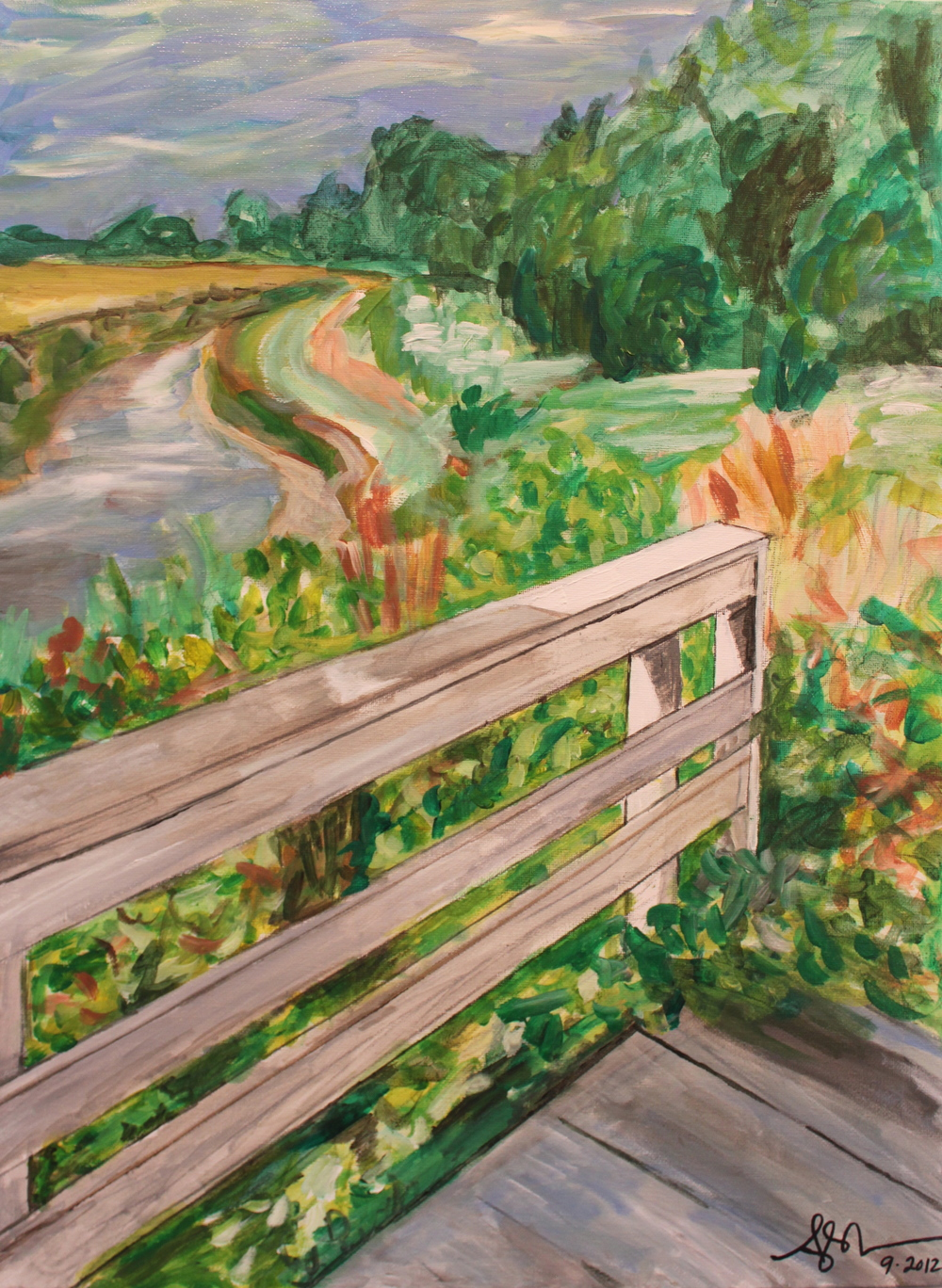 "Holliwell Bridge,  Angela Matsuoka    Oil and Acrylic on Canvas, 18""x24"""