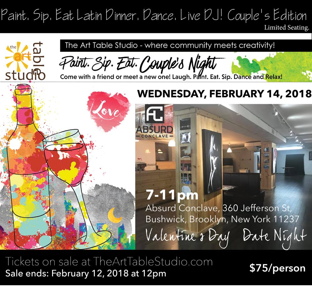Paint Sip Eat Dance Couple S Valentine S Day Edition