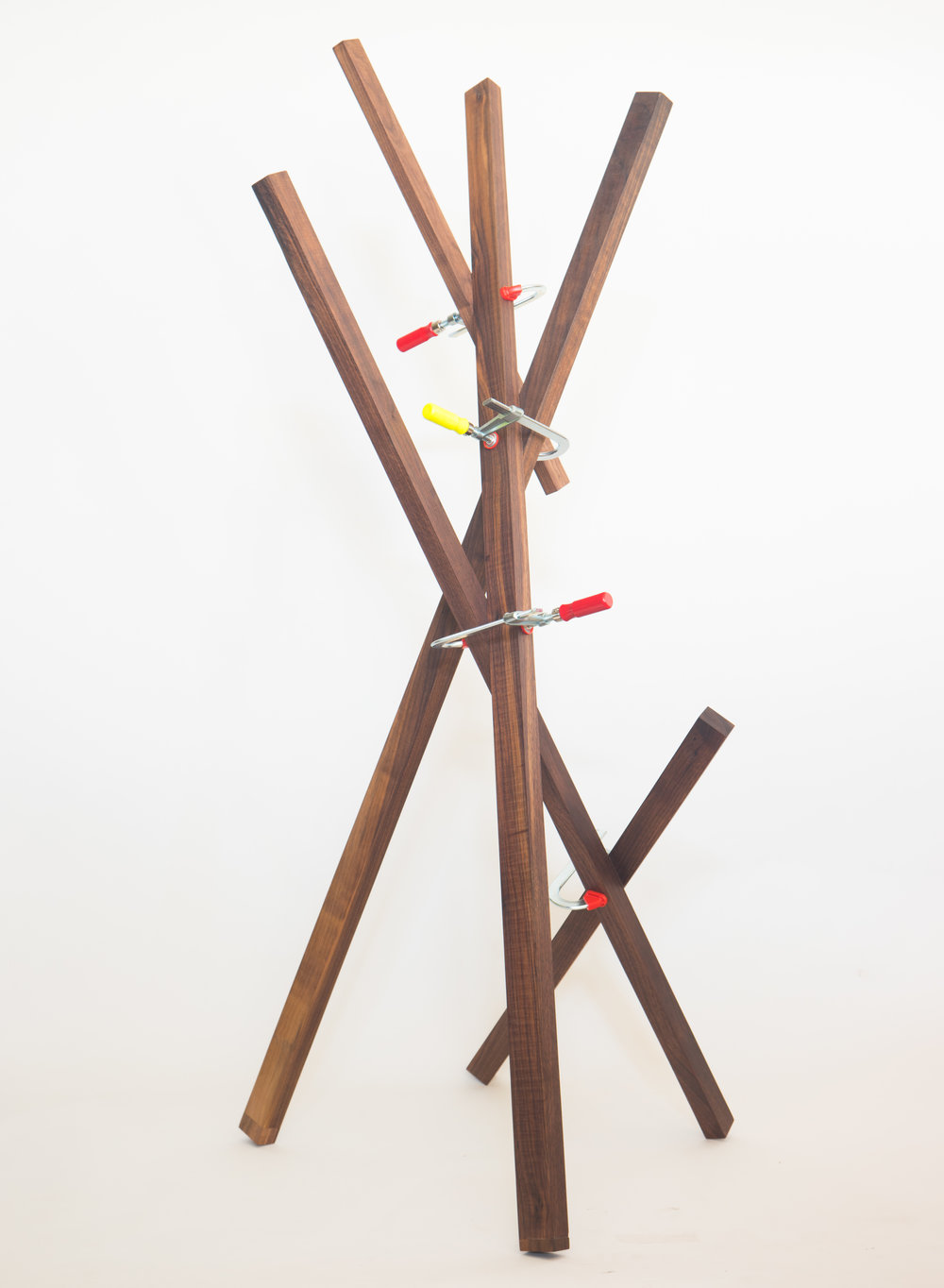 """INTERSECT NO.2    2016/17    walnut, steel clamps, acrylic paint     20"""" x 25"""" x 57.5""""    contact for price"""
