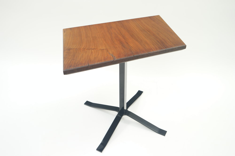 "LITTLE TABLE    solid walnut slab, powder coated steel    30"" x 19"" x 20""    *see store tab for price"