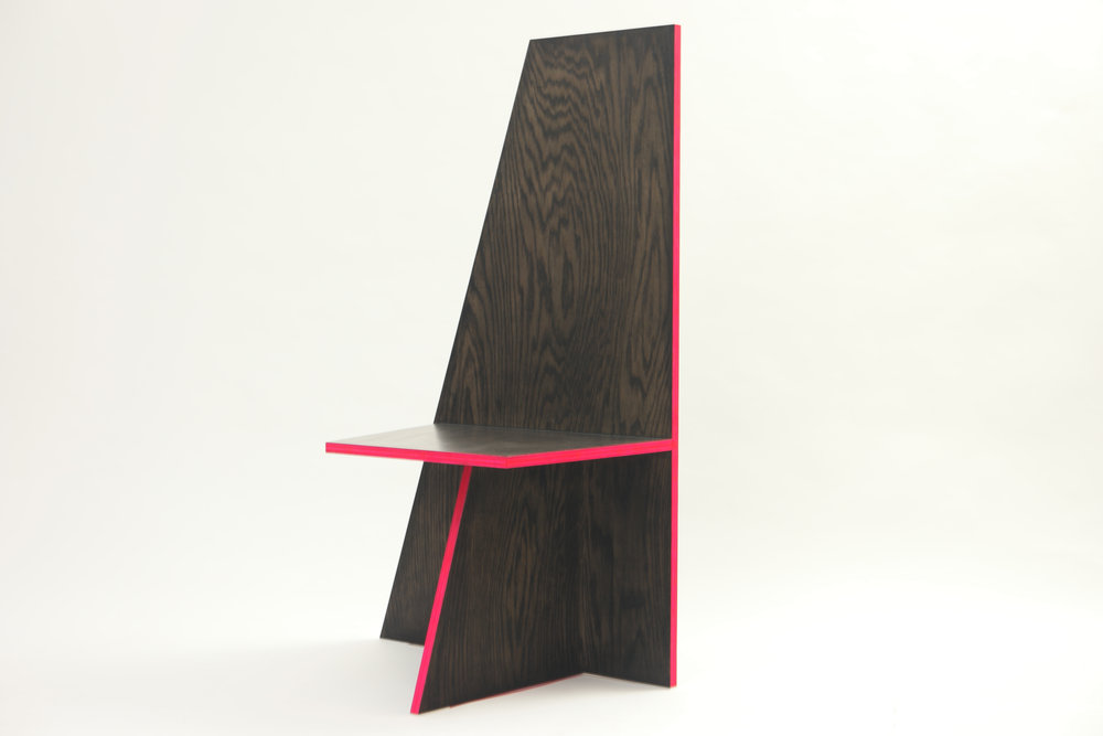 "ANGLE CHAIR NO.1   2016/17   oak veneer plywood, acrylic paint, urethane    45"" x 28"" x 17.75""    *see store tab for price"
