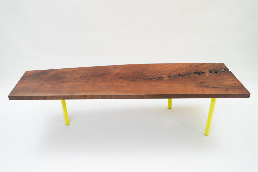 "DRINK TABLE                          solid walnut slab, powder coated steel      19"" x 38"" x 15""             *contact for price"