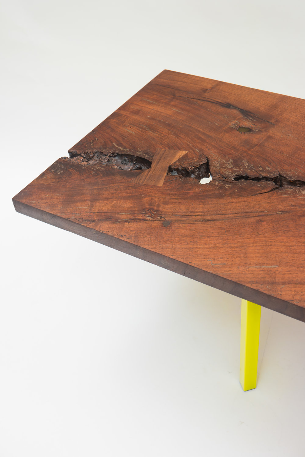 "DRINK TABLE    solid walnut slab, powder coated steel    19"" x 38"" x 15""    *see store tab for price"