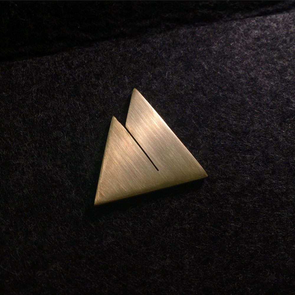 """MTNS""  - hand cut from solid brass  - available as ring, necklace, & earrings  - contact for sizes, price, & availability"