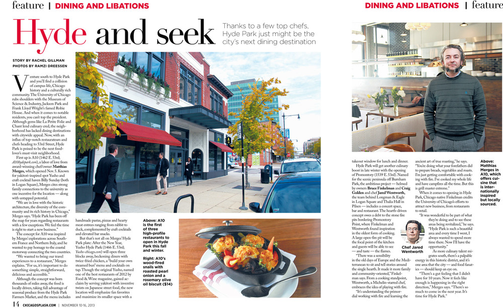 Hyde Park, Chicago dining feature, shot and designed for the Chicago Sun-Times' SPLASH lifestyle magazine