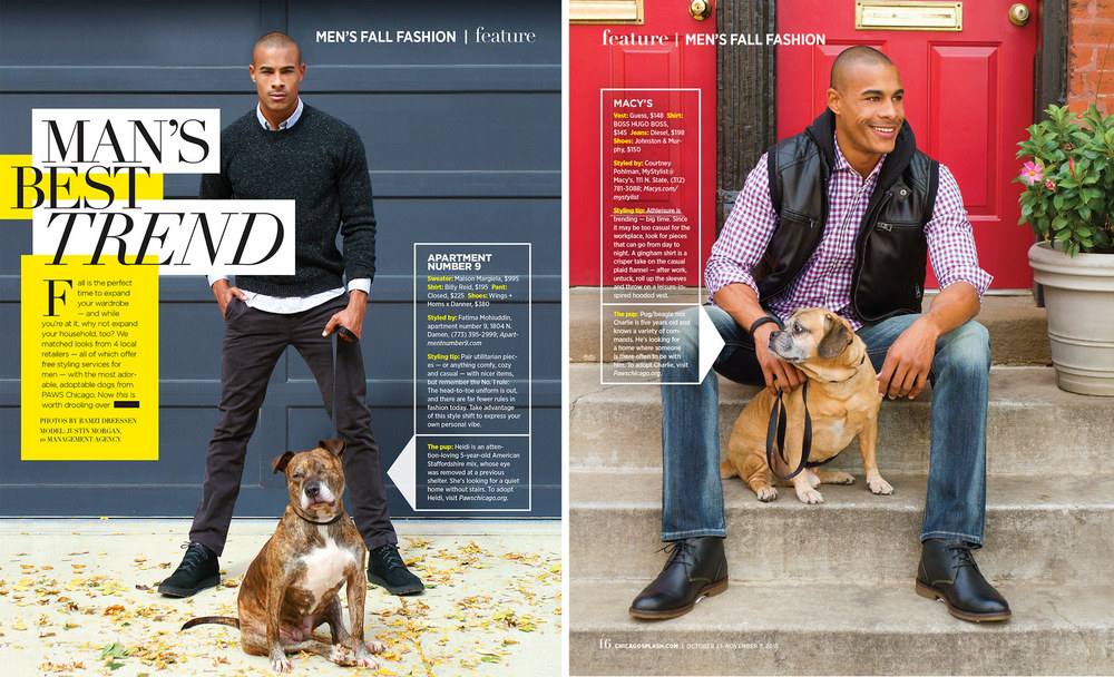 Men's fashion feature, shot for the Chicago Sun-Times' SPLASH lifestyle magazine