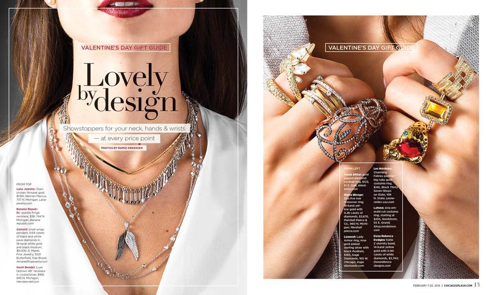 Jewelry feature, shot for the Chicago Sun-Times' SPLASH lifestyle magazine
