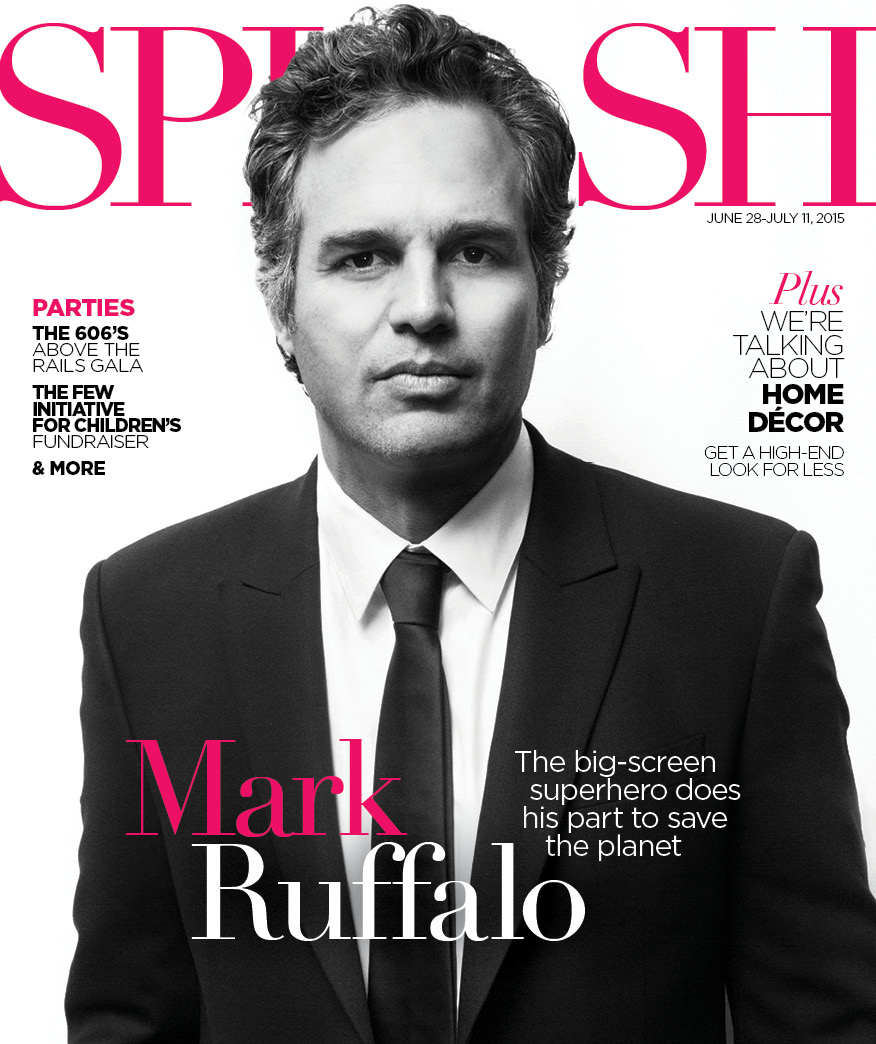 Actor Mark Ruffalo, shot and designed for the Chicago SPLASH lifestyle magazine
