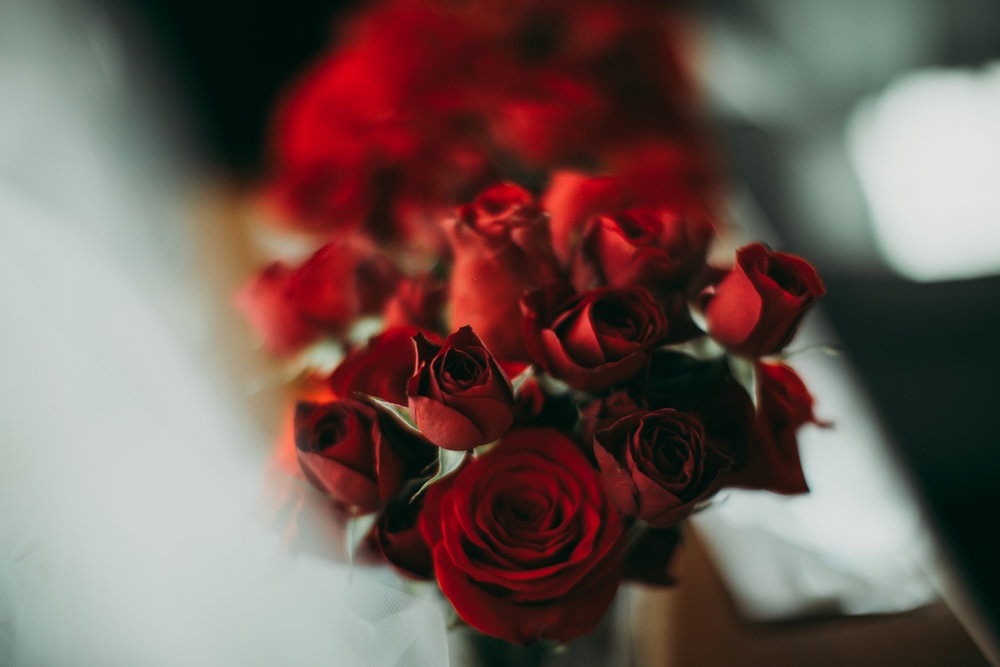 Bride's bouquet of red flowers