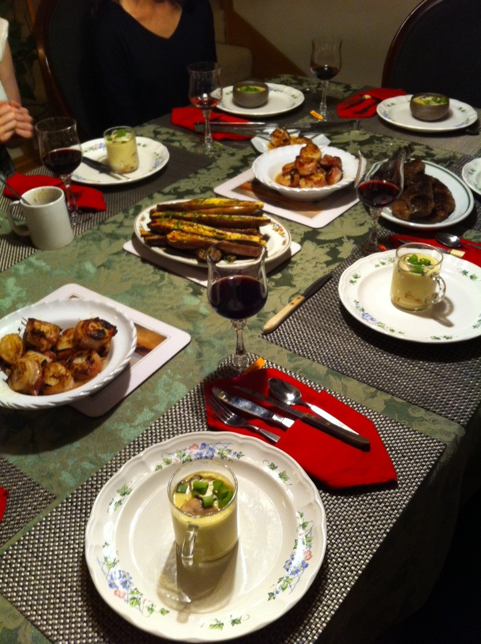 sous vide steak, miso-glazed eggplant, bacon-wrapped scallops, chawanmushi, and more...!