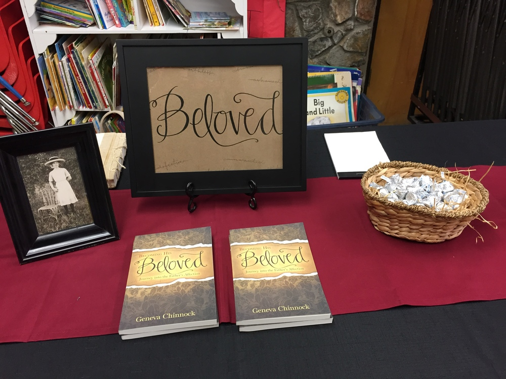 First book signing! Lettering for the cover by my daughter, Amy. Picture on the left is of Aunt Ielah, who I dedicated the book to.