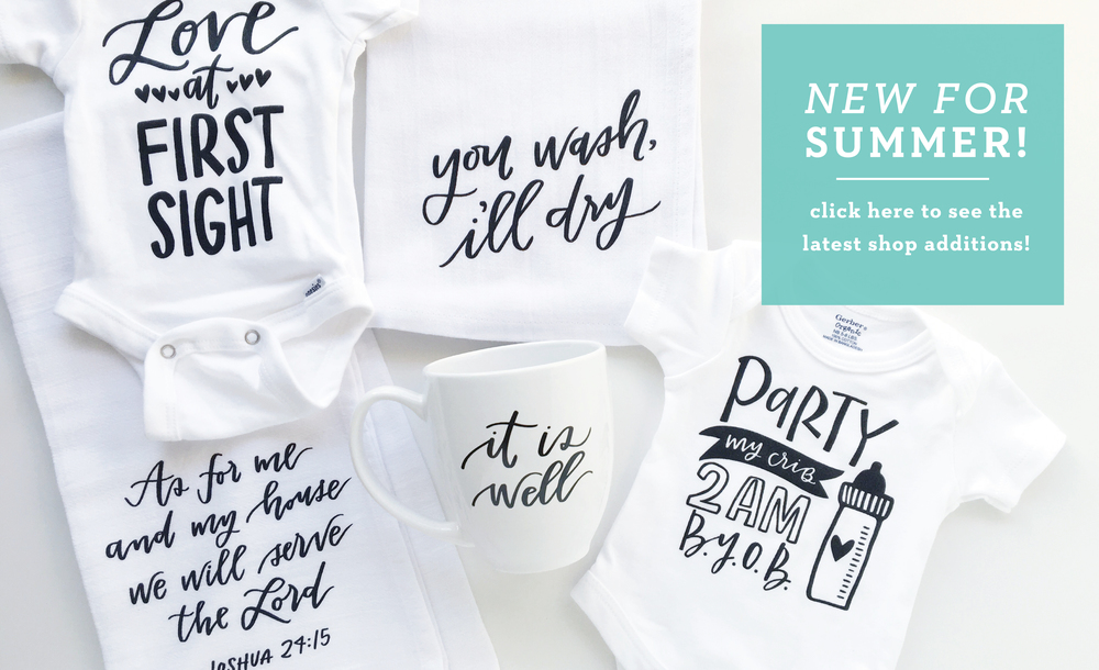 New Products by Lettered Life | Mugs | Onesies | Dish Towels | Pillow Covers