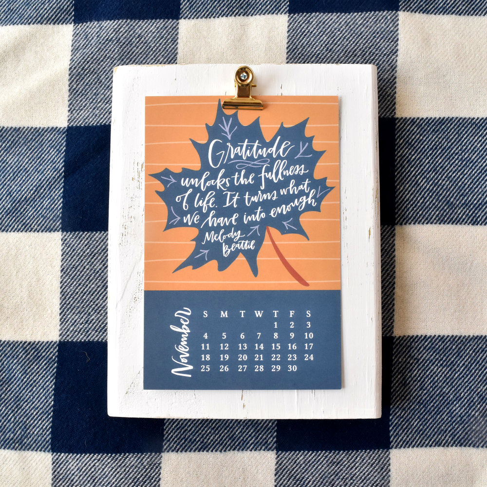 2018 November Calendar Page | Lettered Life Desk Calendar