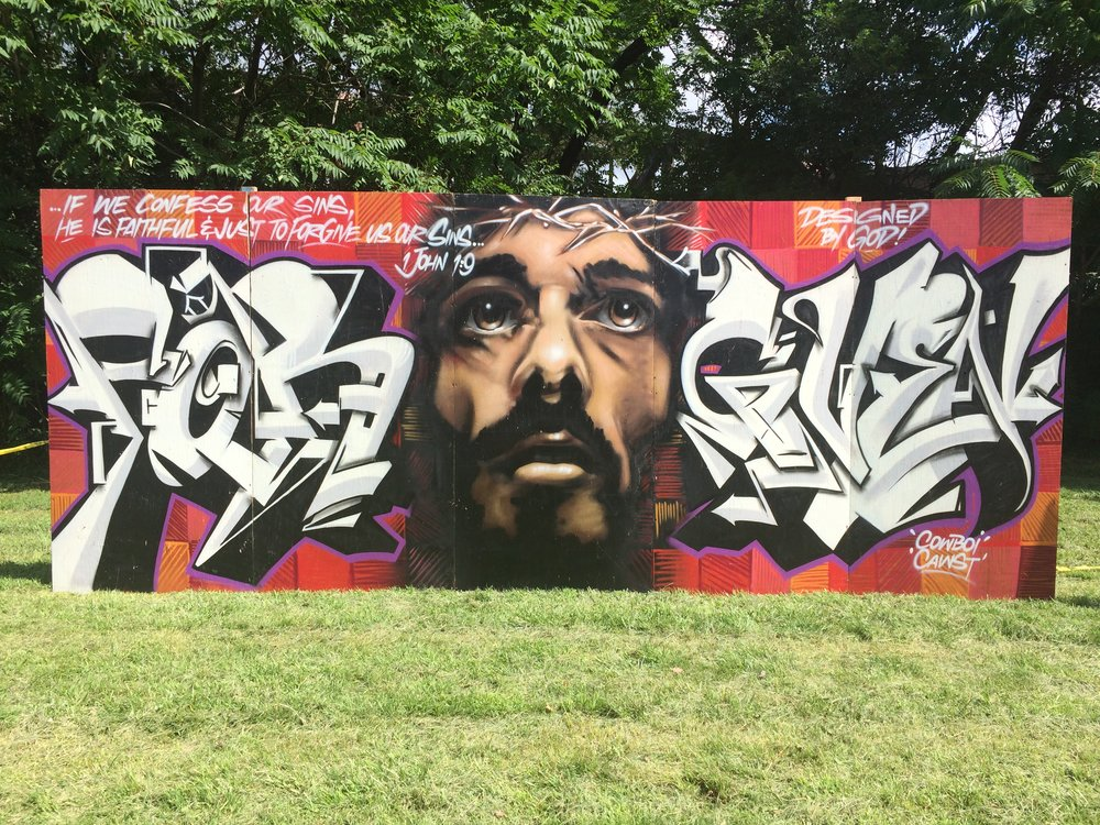"""Forgiven"" by Graffiti Artists Cawst & Cowboi.  1 of 6 pieces that will be on display at the block party."