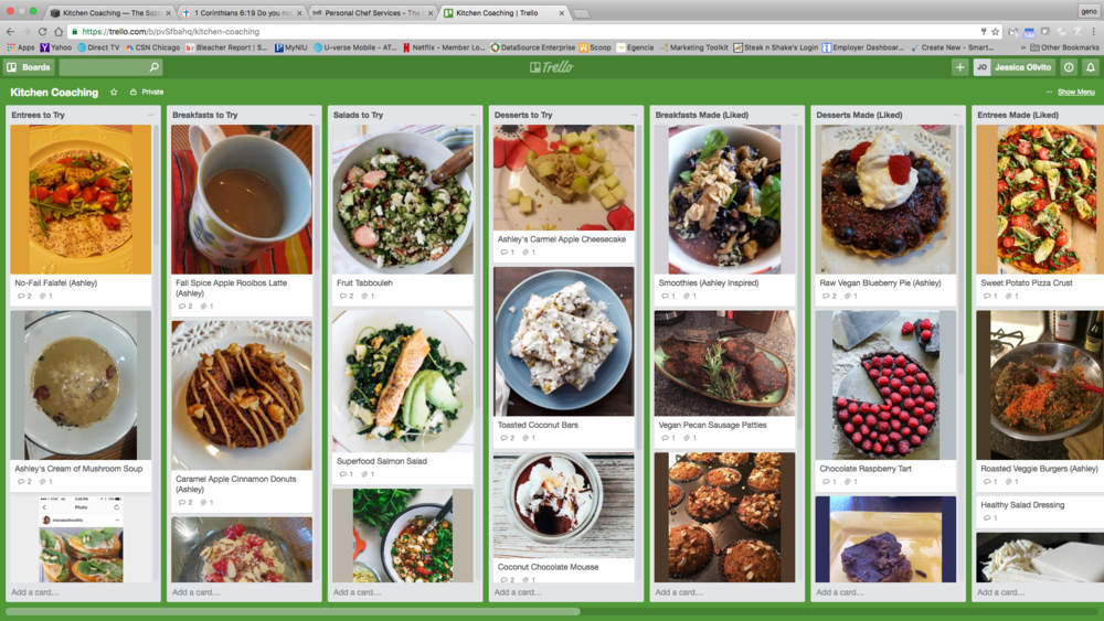 My personal planning board (organized in Trello) containing Ashley's Kitchen Coaching Program & Recipes.